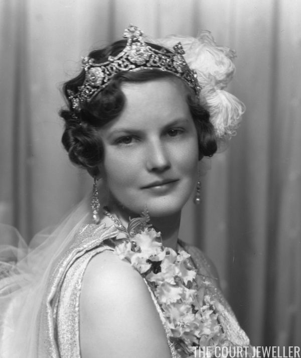 Viscountess Elmley (later Countess Beauchamp; born Else Schiwe) wears an elaborate tiara and court dress, 6 May 1937 | The Court Jeweller