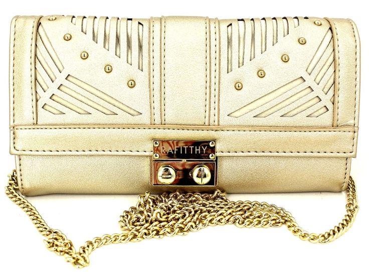 Bolsa Carteira com Alça Corrente Tiracolo Removível Rafitthy 2261407-Dourado/Estampa