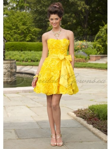 TAFFETA STRAPLESS SOFTLY CURVED NECKLINE QUINCE DRESS