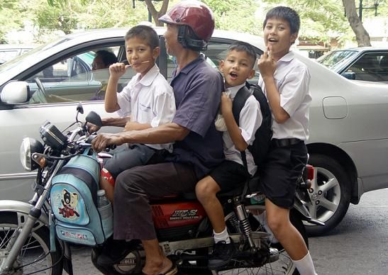 Young Thai Children on their way to School
