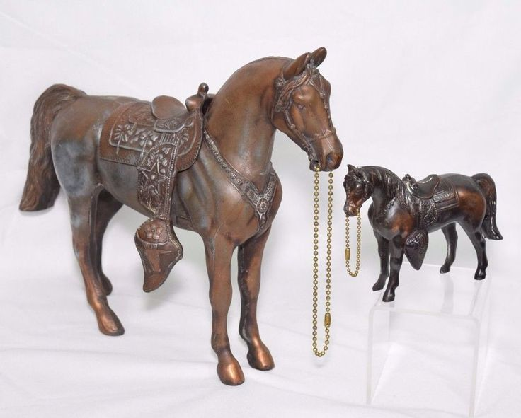 2 Vintage Horse Statues Copper Metal Figurine Saddle Brass