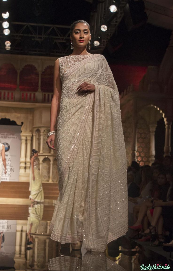 Abu Jani Sandeep Khosla - Off White Embroidered Chikankari Sari - BMW India Bridal Fashion Week 2015
