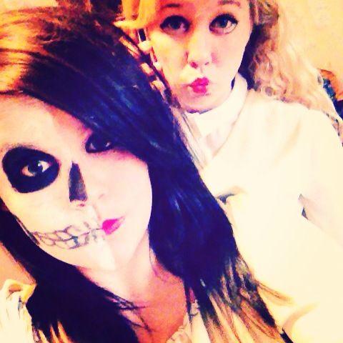Half skeleton face and anime girl Halloween makeup