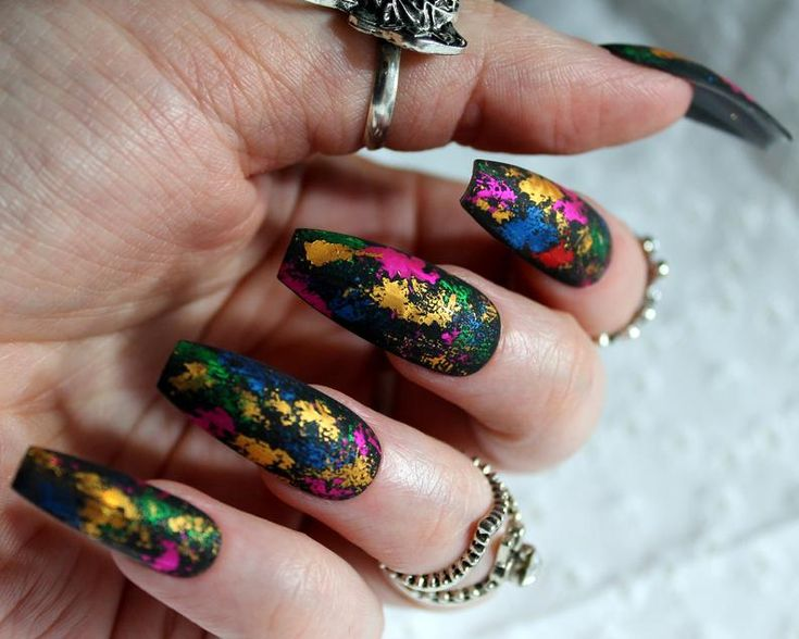 Matte Rainbow Nails Press on Nails Stiletto Coffin Round | Etsy