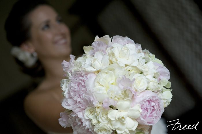 Exquisite bridal bouquet with gardenias and light pink peonies.    www.helenolivia.com