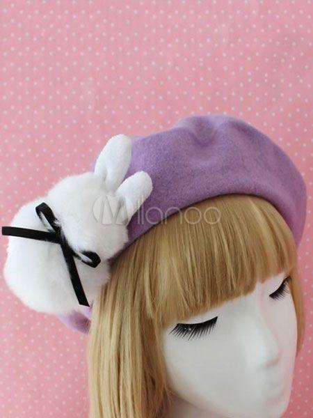 66fa31fe3d44c Sweet Lolita Beret Bow Faux Fur Bunny Wool Lolita Hat  Beret