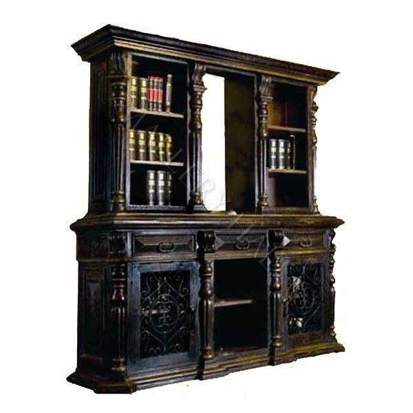 Black Crackled 2 Pc Hutch ($3,250) ❤ liked on Polyvore featuring home, furniture, storage & shelves, black hutch, crackle finish furniture, black door furniture, door furniture and crackle furniture