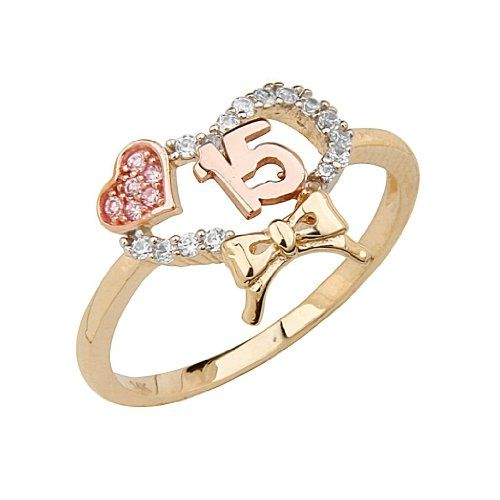 14K Yellow Gold High Polish Pave-Set Top Quality Shines CZ 15 Anos Quinceanera Hearts with Ribbon Design Ladies Fashion Ring Band - Size 5 The World Jewelry Center,http://www.amazon.com/dp/B008DM113C/ref=cm_sw_r_pi_dp_fz5Ksb039ZC22QQ0