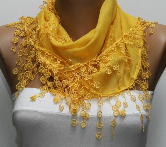 Yellow Scarf   Cotton  Scarf  Headband Necklace Cowl by fatwoman, $15.00