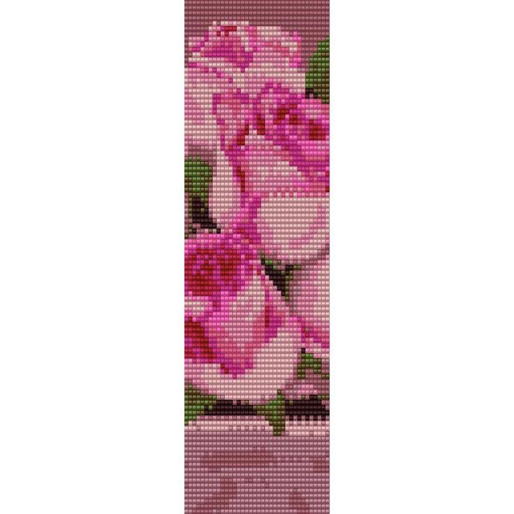 Pink Roses Loom Bead Pattern, Bracelet Pattern, Bookmark Pattern, Seed Beading Pattern Miyuki Delica Size 11 Beads - PDF Instant Download by SmartArtsSupply on Etsy