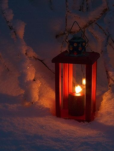 **red lantern in snow