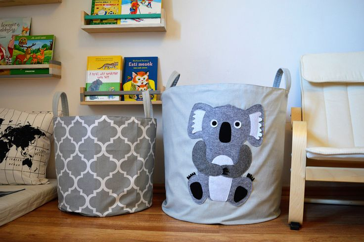 Toy storage basket/ laundry hamper with cute koala by MamaZooShop on Etsy