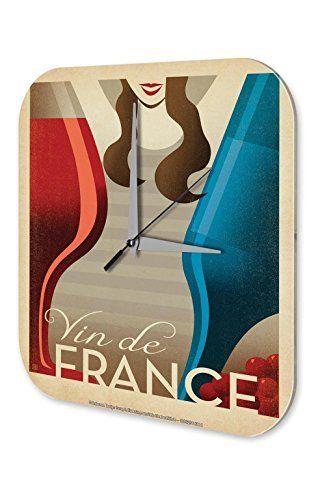 Horloge murale Alcool Retro Deco French wine blue bottle of red wine woman Plexiglas: impression numérique horloge murale plexiglas Horloge…