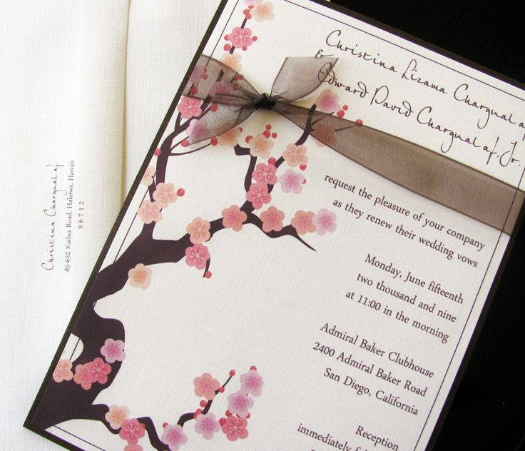 1780 best cherry blossoms wedding invitations images on pinterest, Wedding invitations