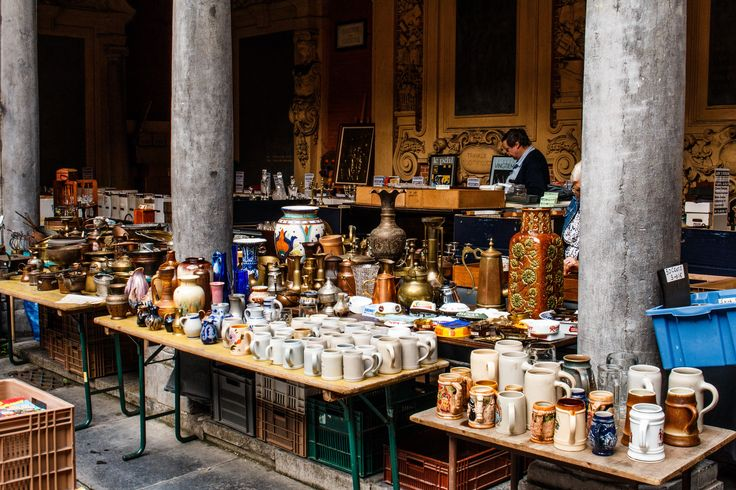 Lille market stall filled with treasures.