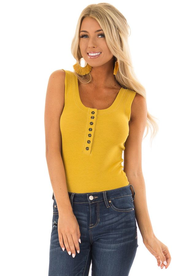 7fc14f2044ca1 Mustard Ribbed Tank Top Bodysuit with Buttons