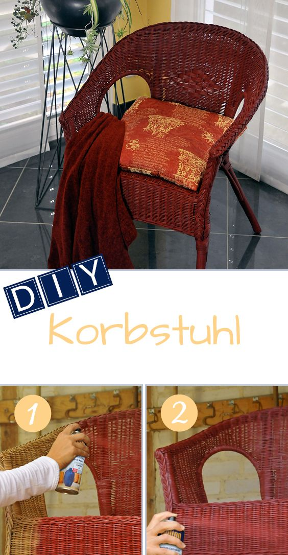 DIY Korbstuhl: Alter Stuhl im neuen Look mit belton perfect als Farbgeber. // DIY Wicker chair: belton perfect renews an old chair with a new color.