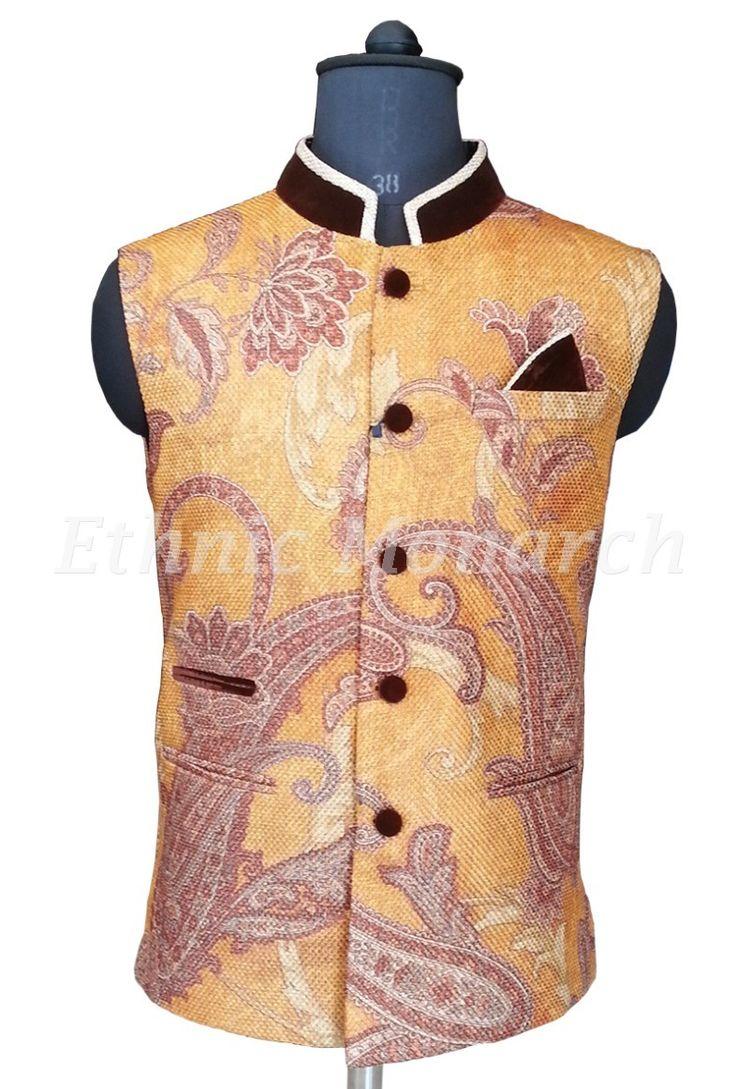 Printed Jute Nehru Jacket