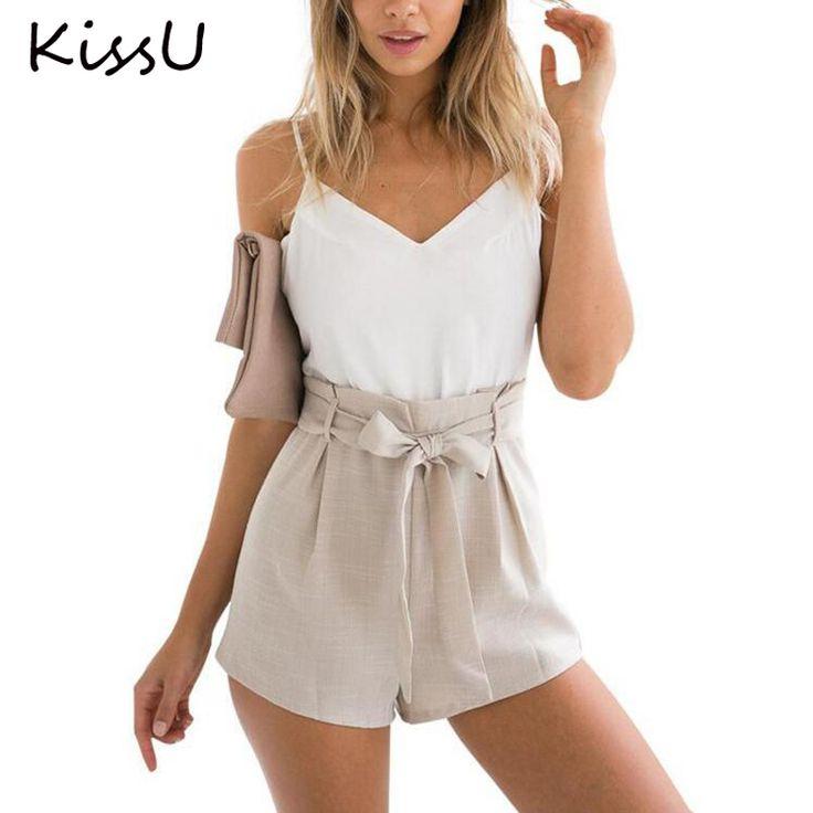 KissU קיץ 2017 לבן אלגנטי סרבל romper נשים סרבל playsuit מקרית סקסי ללא משענת קצרה bow חתיכה אחת בנות