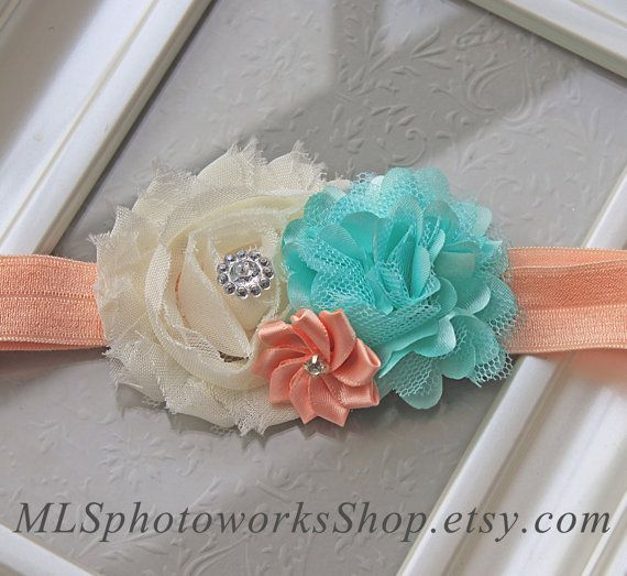 Peach, Mint Green & Ivory Wedding Flower Headband - Soft Satin and Chiffon Baby Headbands - Mint and Peach Hair Bow for Wedding Flower Girls...