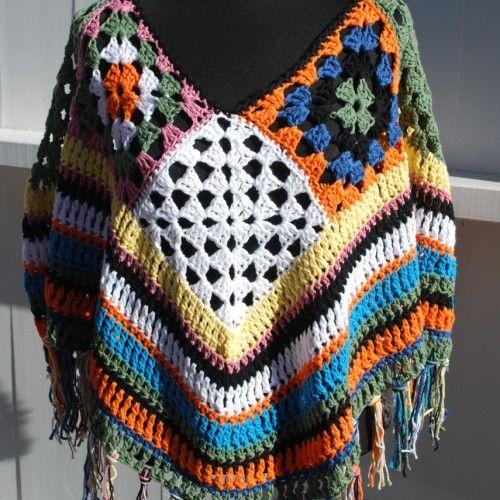 Crochet scrap yarn poncho