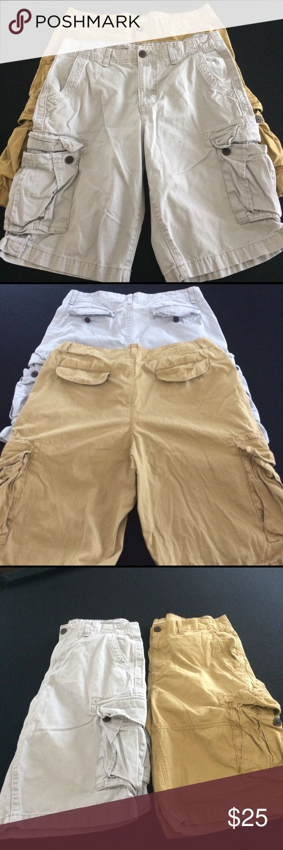 Men's Cargo Short Bundle 2 great condition cargo shorts by urban pipeline, size 34 waist, gray and mustard color. 100% cotton Urban Pipeline Shorts Cargo