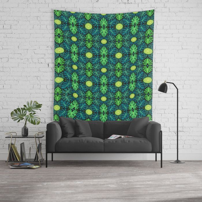 Monstera leaves, floral pattern, black, green & turquoise Wall Tapestry  #monstera #tropic #tapestry #society6