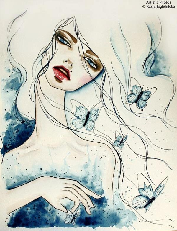 © Kasia JagielnickaBeautiful 3D, Life Is Beautiful, Beautiful Painting, Kasia Jagielnicka, Watercolors Art, Butterflies Blue, Girls Illustration, Art Painting, Drawing