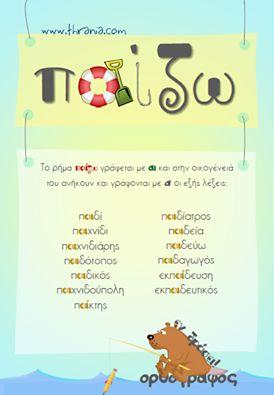 """Νέα εκπαιδευτική αφίσα! Γλώσσα: ''Ορθογράφος εν δράσει...με το """"παίζω""""!'' http://www.thrania.com/#!ekpaideutikes-afises-glossa/c694"""