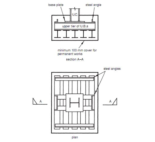 Grillage foundation Section and Plan