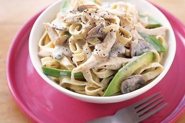 Ingredients: 375g fettuccine pasta, cooked '1 1/2 tablespoons olive oil 2 chicken breast fillet, strips 1/2 white onion, chopped 150g button mushrooms, sliced 3 garlic gloves, crushed 1 tablespoon dried thyme 1 teaspoon finely grated lemon zest 1/3 cup dry Continue reading Creamy Chicken Pasta Recipe→