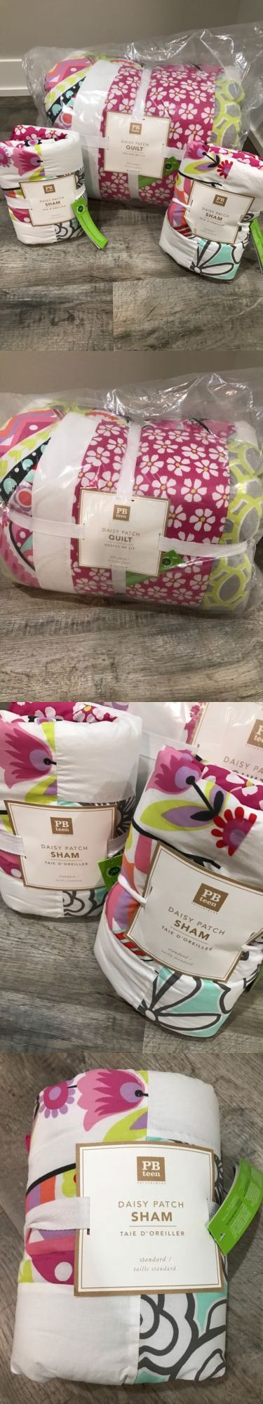 Kids Bedding: Pottery Barn Teen Daisy Patch Full/Queen Quilt And 2 Standard Shams Nwt BUY IT NOW ONLY: $160.0