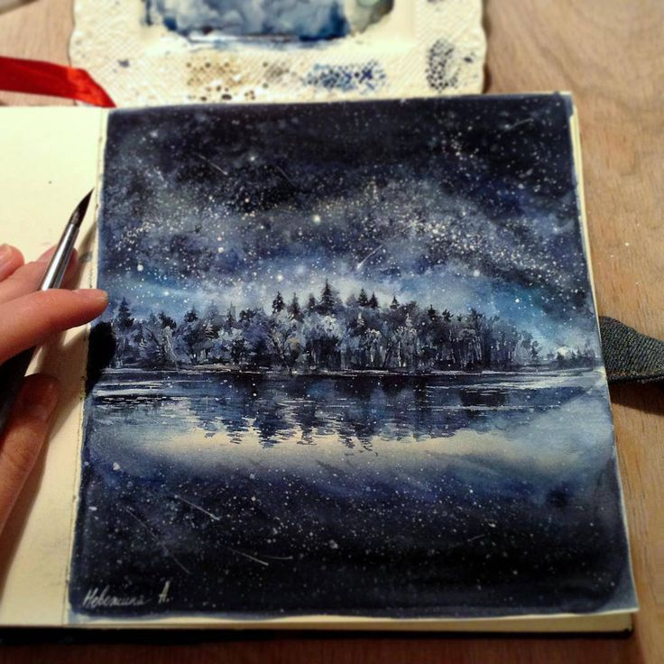 Amazing watercolor painting. Reminds me of Skyrim, wading in the lake at night, gazing up at the galaxies.. (@anya_nev)