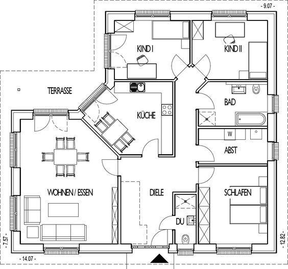 Musterhaus bungalow mit garage  Die 25+ besten Winkelbungalow grundriss Ideen auf Pinterest ...