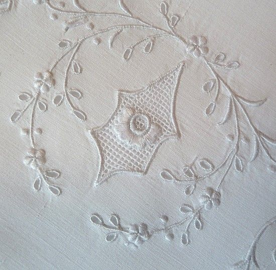 Em's Heart Antique Linens -Monogrammed Vintage Cotton Appenzell Type Embroidered Pillowcases