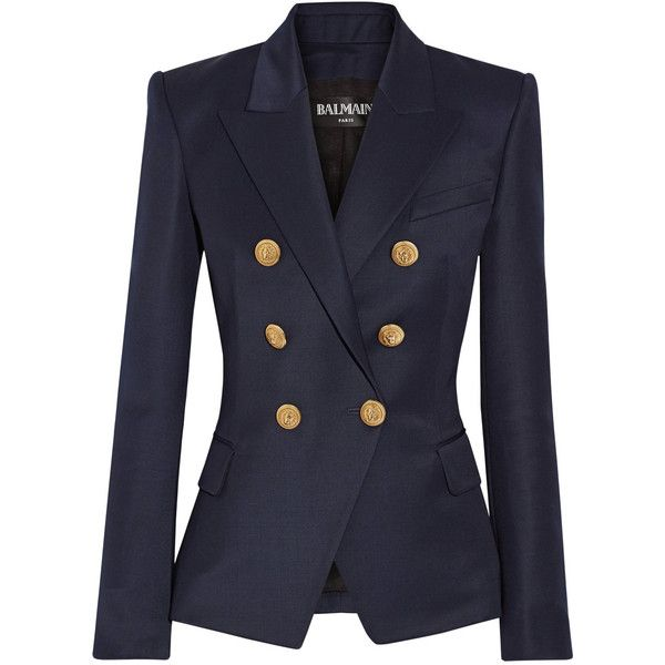 Balmain Double-breasted wool-twill blazer ($1,955) ❤ liked on Polyvore featuring outerwear, jackets, blazers, navy, wool jacket, double breasted wool blazer, twill blazer, navy blue wool blazer and double breasted blazer