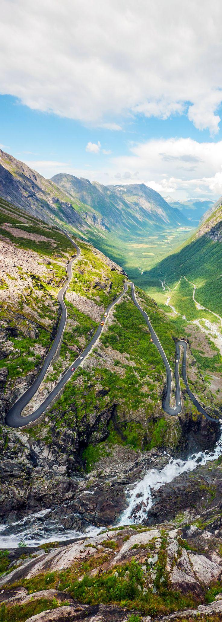 Trollstigen Serpentine Mountain Road and Stigfossen Waterfall