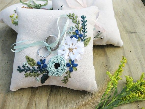 Ring pillow with ribbon embroidered flowers, $95.00