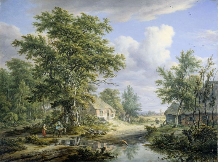 Egbert van Drielst   Farms on the Fringe of a Wood, Egbert van Drielst, 1812   Landschap met boerderijen aan de rand van een bos bij Laren in het Gooi. Tussen de boerderijen loopt een weg waarover enige figuren gaan. Vooraan drinkt een hond uit een grote plas.