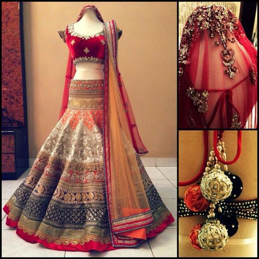 This lehenga is made in raw silk with red and mustard color dupattas. Embroidery of this lehenga is done in machine work with stone, gotta mix. Production time
