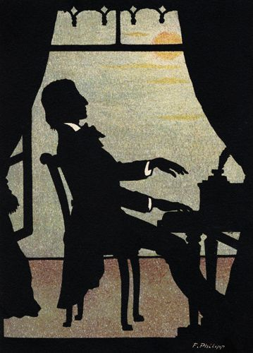 Silhouette of Fryderyk Chopin at the piano (F. Phillip, Lebrecht Music & Arts)