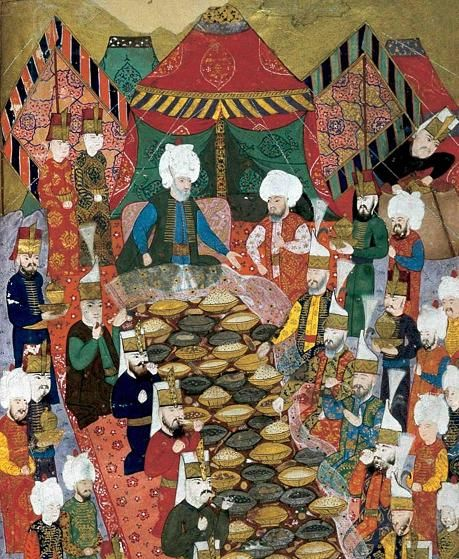 Figure 2: A banquet given by the commander-in-chief Lala Mustafa Pasha to the janissaries in Izmit, 5 April 1578. Topkapi Palace Museum Library, MS H1365, fol. 34b.