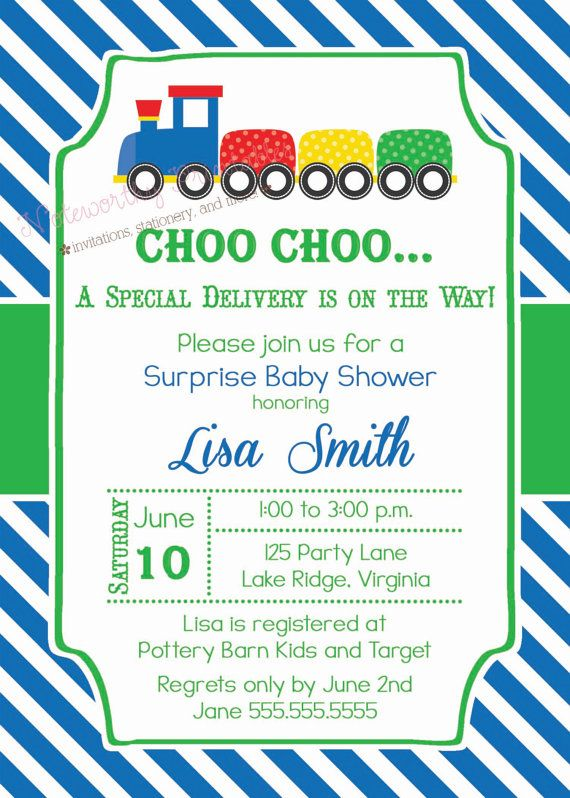 Train Baby Shower Invitations Train by NoteworthyPrintables