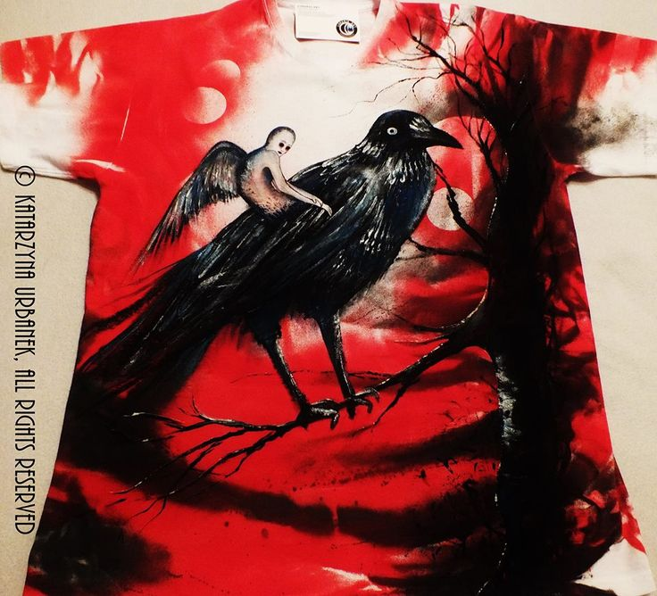 """ Nymphe - Queen Of Ravens "" HAND PAINTED CUSTOM T-SHIRT © Katarzyna Urbanek,All rights reserved"
