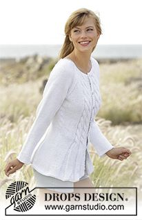 """Romantic Twist - Knitted DROPS fitted jacket with cables and raglan in """"Paris"""". Size: S - XXXL. - Free pattern by DROPS Design"""