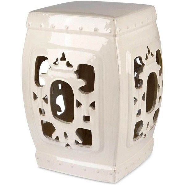Serena Ceramic Garden Stool, Quick Ship ($299) ❤ liked on Polyvore featuring home, outdoors, patio furniture, outdoor stools, white, outdoors patio furniture, ceramic garden stools, outdoor garden furniture, white ceramic garden stool and outside patio furniture