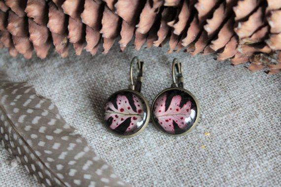 Flower earrings Plant glass gold flower earrings by Miodunka
