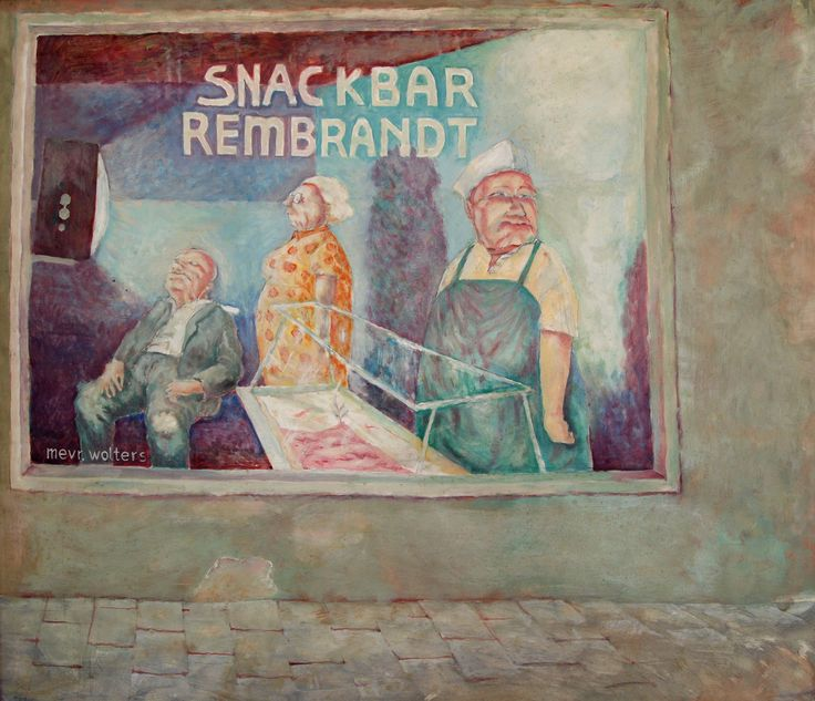 Painting by Anne - 1984 - Snackbar Rembrandt was (is?) a shop on the Haarlemmerstraat in Amsterdam. This is a visual interpretation of what I saw one day while biking past the window.