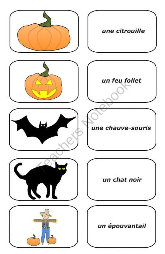 Free Halloween French Picture Cards (PDF) from Teaching The Smart Way on TeachersNotebook.com (3 pages)