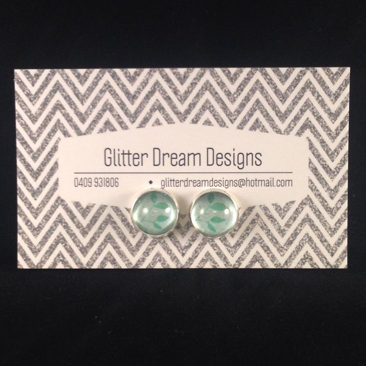 Order Code D16 Green Cabochon Earrings